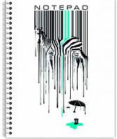 Тетрадь для записей А5+ Economix 60л, Zebra боковая спіраль клетка с полями E20226-03