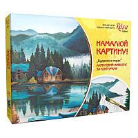Картина раскраска с контурами на холсте Роса 35*45см Дом в горах N0000710