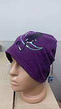 Шапка женская на флисе фиолет