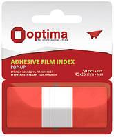 Стикеры-закладки пластиковые Optima 45*25мм 50л. красные O25533-03