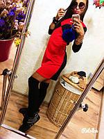 Женское трикотажное двухцветное платье, фото 1