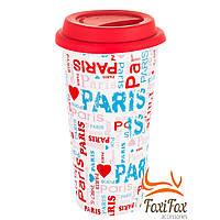 Прикольная кружка с силиконовой крышкой Paris