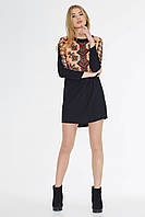 Модное молодежное черное платье с принтом ТМ Nenka р.S