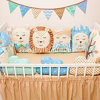 """Защита в кроватку. Бортики игрушки на 4 стороны """"Ванильное небо № 5"""""""