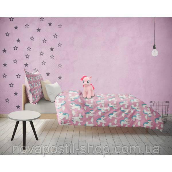 Детское постельное белье Единороги Розовые (100% хлопок)