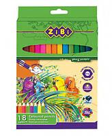 Карандаши цветные 18цв. ZiBi Soft ZB.2411