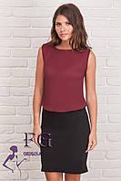 """Платье комбинированное юбка и блузка """"Vivien"""" - распродажа бордо, 42-44"""