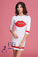 """Платье женское """"Lips"""". Розничная цена. Женская одежда от производителя. белый, 48"""