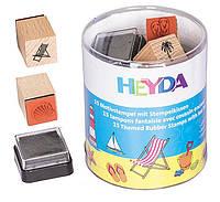 Набор штампов резиновых Отдых, 15шт. + штемпельная подушка, Heyda 204888490