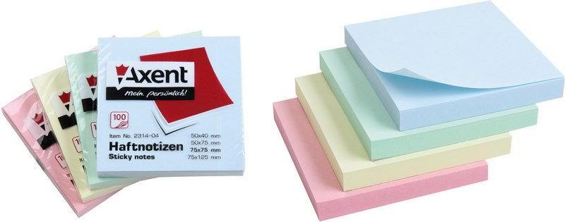 Бумага для заметок с липким слоем 75*75 100л. желтая Axent 2314-01A