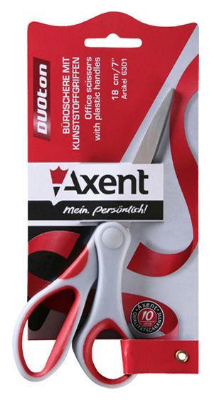 Ножницы канцелярские Axent Duoton 18см серо-красные 6301-06-А