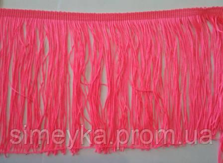 Бахрома танцювальна яскраво-рожева (лапша, локшина) для одягу 15 см, тасьма 1 см, довжина ниток 14 см