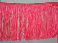 Бахрома танцювальна яскраво-рожева (лапша, локшина) для одягу 15 см, тасьма 1 см, довжина ниток 14 см, фото 1