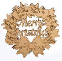 Заготовка для декорирования интерьерная ДВП Венок Merry Christmas 28х27х0,3см 4801423