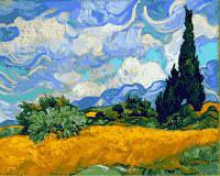 Картина раскраска по номерам на холсте 40*50см Babylon VP594 Пшеничное поле с кипарисами, Винсент Ван Гог