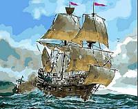 Картина раскраска по номерам на холсте - 40*50см Mariposa Q553 Сражение кораблей