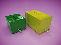 Акционный ящик, ящик для пожертвований с замком (цветной акрил) 300х200х150 мм