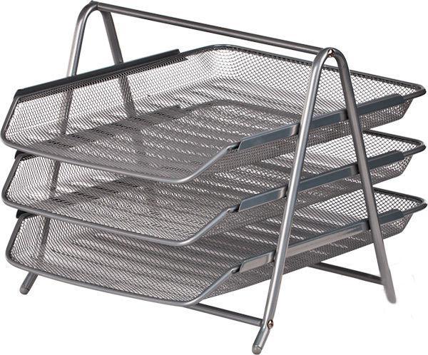 Лоток для бумаги горизонтальный, Buromax металлическая сетка 3-ярусный серебрянный BM.6252-24