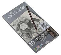 Карандаши чернографитные простые CRETACOLOR Artino Graphite набор 10шт в метал коробке 90540021