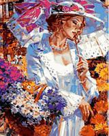 Картина раскраска по номерам на холсте 40*50см Babylon VP633 Дама с корзинкой ромашек