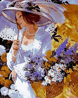 Картина раскраска по номерам на холсте 40*50см Babylon VP635 Девушка в саду хризантем
