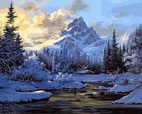 Картина раскраска по номерам на холсте 40*50см Babylon VP653 Горное озеро зимой