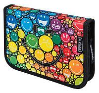 Пенал 1 отделение с 1 отворотом с наполнением Herlitz 11437902 Smileyworld Rainbow 19 предметов