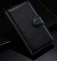 Кожаный чехол книжка для Nokia Lumia 530 черный