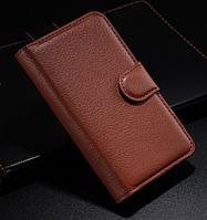 Кожаный чехол книжка для Nokia Lumia 530 коричневый