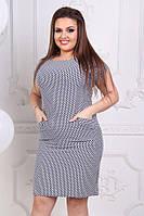 Платье больших размеров 50+ с принтом, есть карманы  арт 3849-70