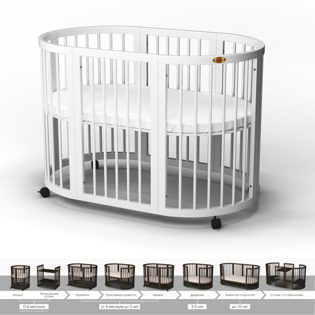 Кроватка -трансформер 9-в-1, Круглая, BAGGYBED ROUND Белый — в ... 40222c09377