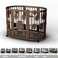 Кроватка-трансформер 9-в-1 круглая BAGGYBED ROUND с мишками шоколад