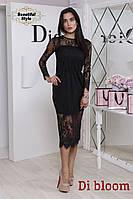 Женское кружевное платье миди