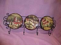 Тарелки керамические с изображением итальянских домиков набор с подставкой на стену 11см диаметр