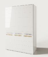 Шкаф Бьянко 3Д 2100х1500х570мм белый глянец + дуб сонома Світ Меблів