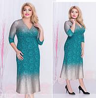 Прямое кружевное платье-миди с V-образным вырезом на запах батал фабрика Minova (р. 52-58 )