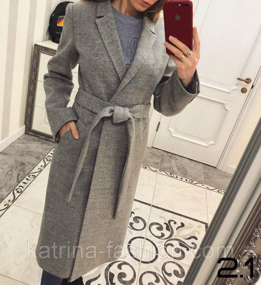 Женское классическое двубортное серое шерстяное пальто