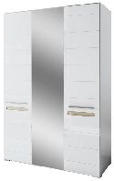 Шкаф Бьянко 3Д с зеркалом 2100х1500х570мм белый глянец + дуб сонома Світ Меблів