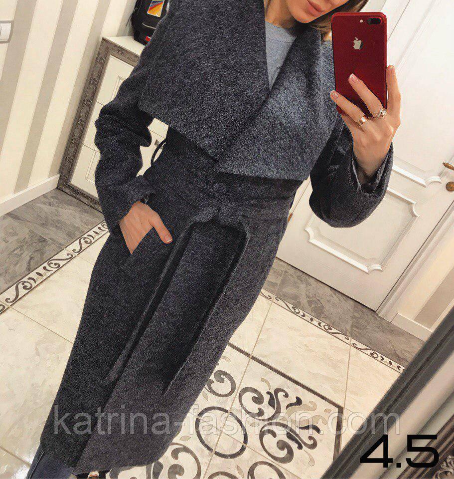 Женское стильное шерстяное пальто с поясом на запах (8 цветов)