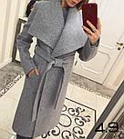 Женское стильное шерстяное пальто с поясом на запах (8 цветов), фото 8