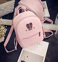 Женский рюкзачок мини с ушками Розовый