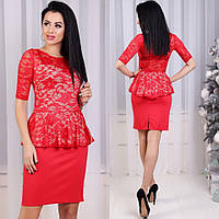 Кружевное платье-костюм Izabella с баской, верх гипюр, юбка из французского трикотажа (Красное) (156)349