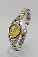 Женские кварцевые наручные часы (золотой корпус, серебристый ремешок)
