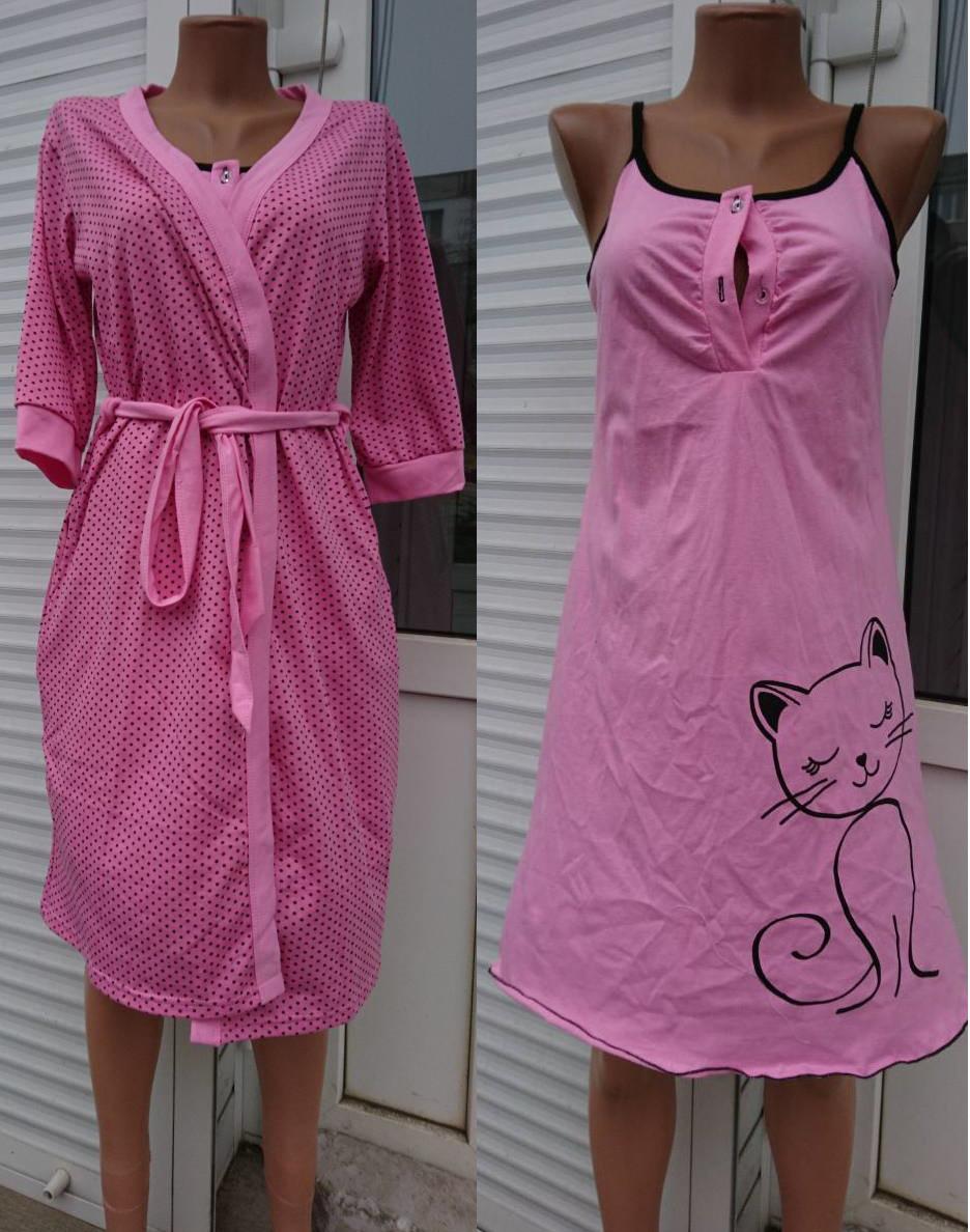 5b637457c5d9 Женский комплект халат и сорочка с кошкой, женские комплекты оптом от  производителя - Styleopt.