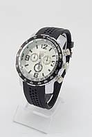 Мужские наручные часы (белый циферблат, черный ремешок)