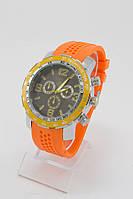 Мужские наручные часы (черный циферблат, оранжевый ремешок)