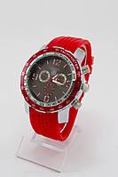 Мужские наручные часы (черный циферблат, красный ремешок)