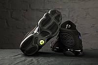 Мужские высокие кроссовки Nike Air Jordan 13 Retro Black Anthracite (найк эир джордан, реплика) (реплика)