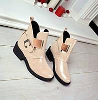 Демисезонные ботиночки H@rmes материал натуральная кожа внутри байка, цвет пудра перламутр