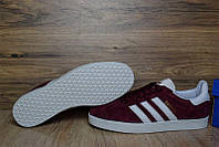Кроссовки мужские Adidas Gazelle OD-1349 Материал замша. Бордовые